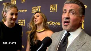 Sylvester Stallone and his three daughters on the Miss Golden Globe 2017