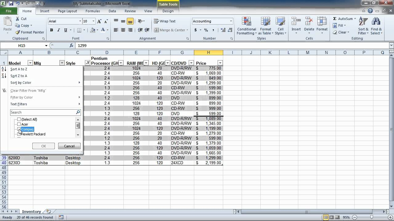 how to add filter in excel 2010