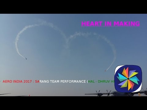 Sarang (HAL - Dhruv) helicopters aerobatic air show display at AERO INDIA Expo 2017