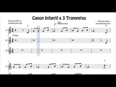 Children's Songs Canon Sheet Music for Trumpet and Flugelhorn 3 Voices