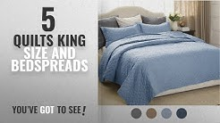 """Top 10 Quilts King Size And Bedspreads [2018]: Quilt Set Solid Grayish Blue King Size(106""""x96"""")3"""