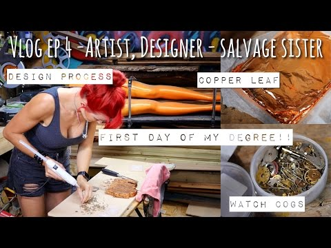 Vlog Ep4 - First day at college, design process - artist, designer & Salvage Sister