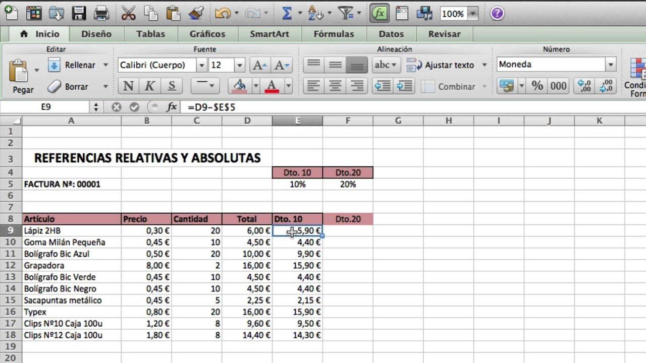 Excel Mac Nº5 Referencias Relativas y Absolutas - YouTube