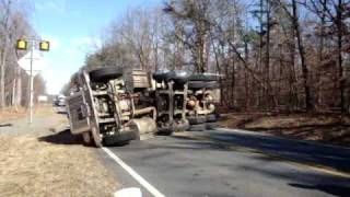 Dump Truck Being Flipped Back Over