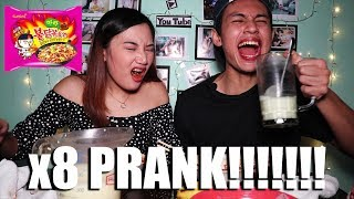 x8 Spicy Mala Fire Noodle PRANK CHALLENGE!!! (40k Subscribers)