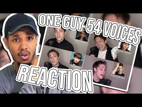 ONE GUY 54 VOICES (With Music!) Famous Singer Impressions Reaction