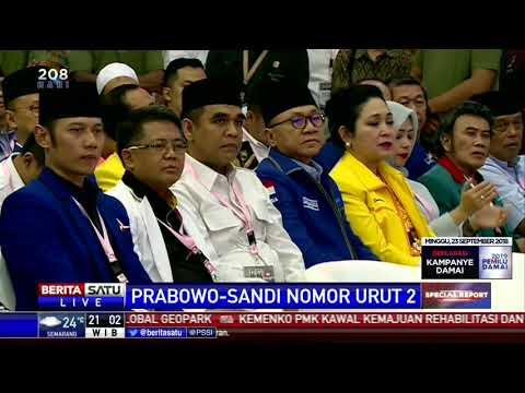 Dapat Nomor 2, Prabowo-Sandi Ingin Pemilu Damai dan Sejuk