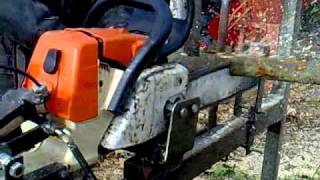 Can Cervera - Montseny  Suport Motoserra - Cutting Logs On Chainsaw Bench