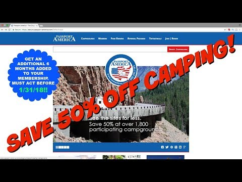 Passport America - Discount Camping Club - Save Money - 50%! 6 months added for free! See below!