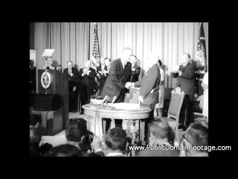 President Lyndon B. Johnson signs Medicare Bill 1965 archival footage