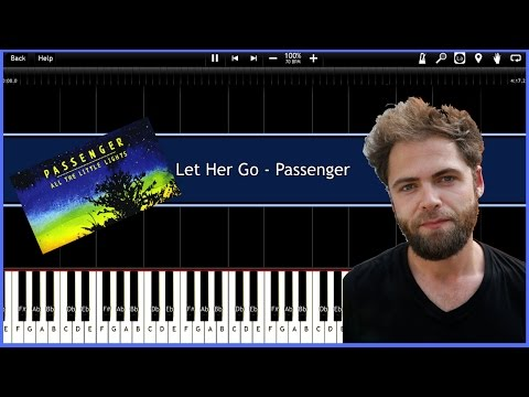 Let Her Go - Passenger (Synthesia) [Tutorial] [Instrumental Video] [Download]