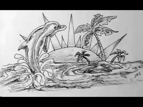 How To Draw Dolphin And Small Island Landscape Yzarts Yzarts
