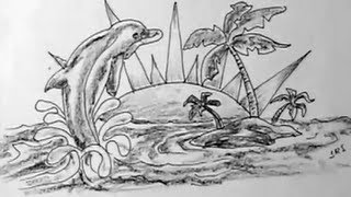 How to draw dolphin and small island landscape | YZArts | YZArts