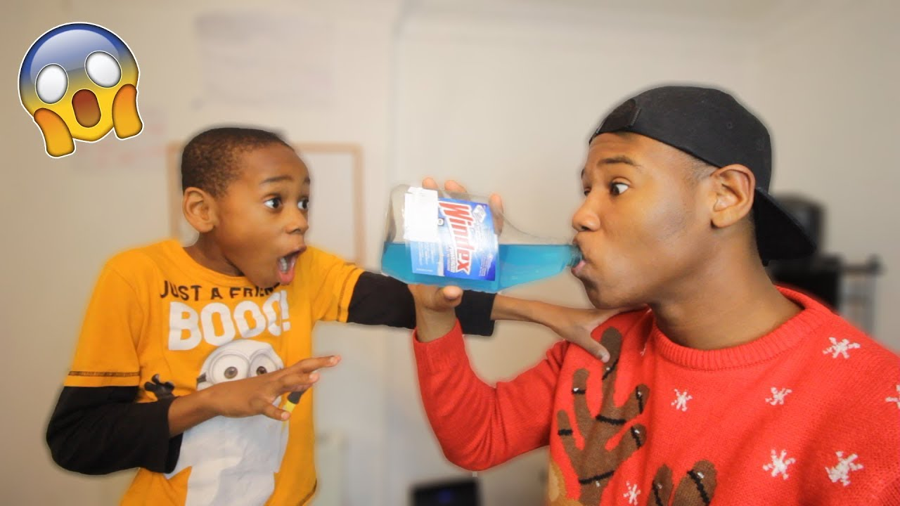 Drinking Windex Prank On Little Brother Freakout