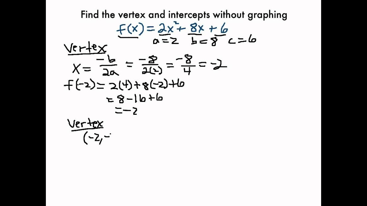 Finding The Vertex And Intercepts Without Graphing