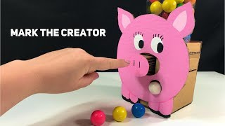 How to make GumBall Candy Dispenser Machine from Cardboard DIY Piggy