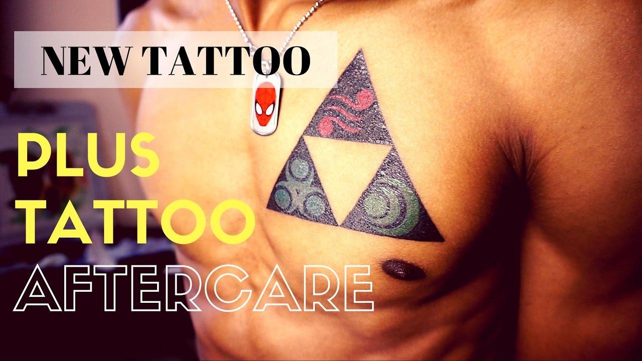 5e850fbc06149 New Tattoo | Zelda Triforce Plus Tattoo Aftercare Tutorial! - YouTube