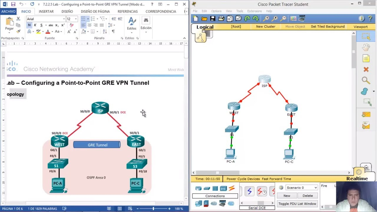 3 4 2 6 - 7 2 2 5 Lab - Configuring a Point-to-Point GRE VPN Tunnel