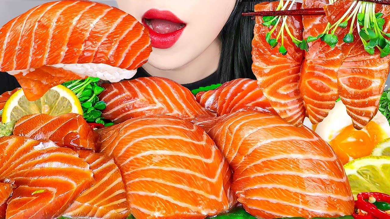 ASMR MARINATED SALMON, GIANT SUSHI 대왕연어초밥, 연어장 만들기 RAW SEAFOOD EATING SOUNDS MUKBANG & RECIPE 먹방 레시피