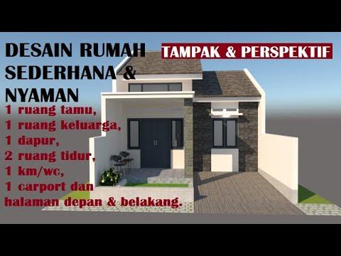 desain rumah sederhana. luas 45,5 m2. lahan 6 x 12 m. bag