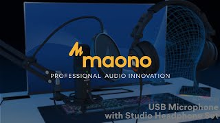 MAONO AU-A04H USB Microphone with Studio Headphone Set 192kHz/24 bit Condenser Mic