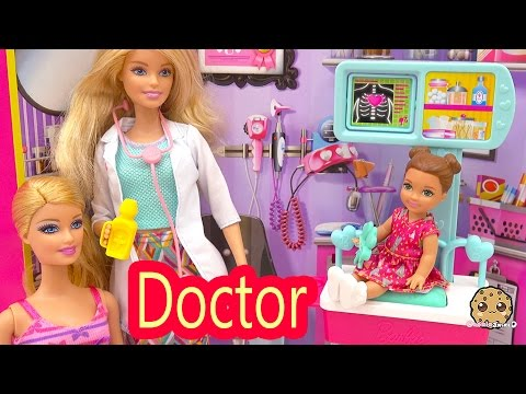 Dr. Barbie Doll Doctors Office Visit With Sick Girl - Careers Playset Toy Video Cookieswirlc