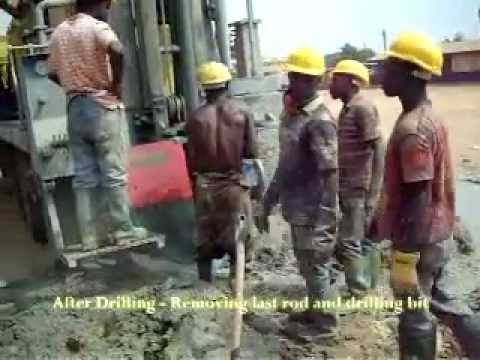 After Drilling  - Removing rod and bit - Enacent Limited Ghana