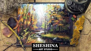 How to draw a stream in an autumn forest with soft pastels 🎨 REAL-TIME