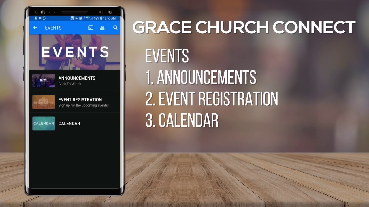 Accessing Events In The Grace Church Connect App