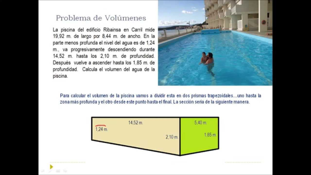 C lculo de volumenes piscina youtube for Calculo estructural de una piscina