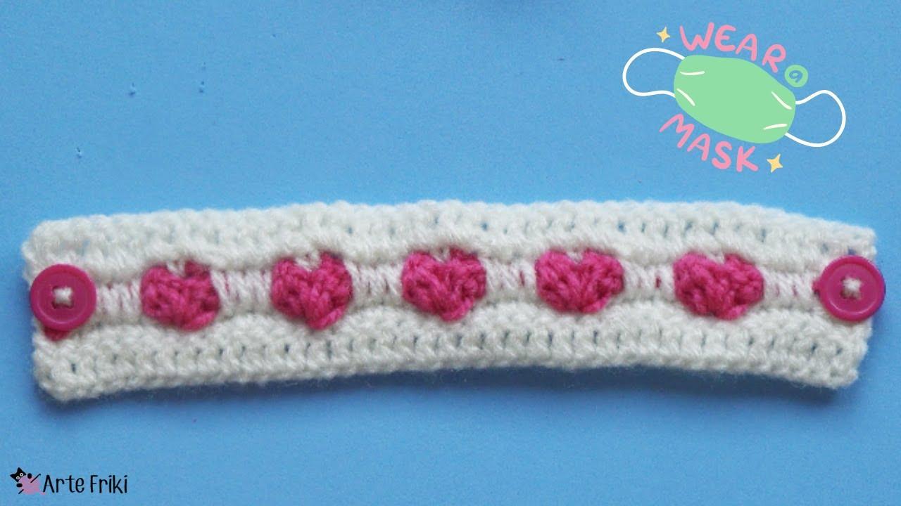 👂 Salvaorejas 😷 con Punto Corazón a Crochet ❤️️ [TUTORIAL]