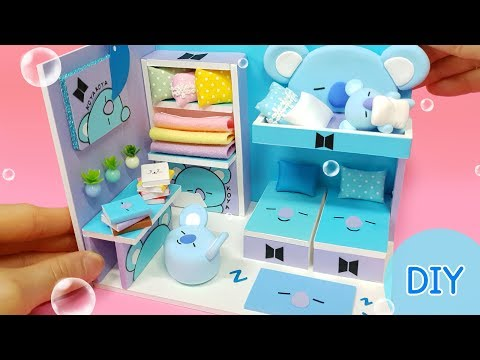 DIY Miniature dollhouse room -  BTS & BT21 KOYA room decor !