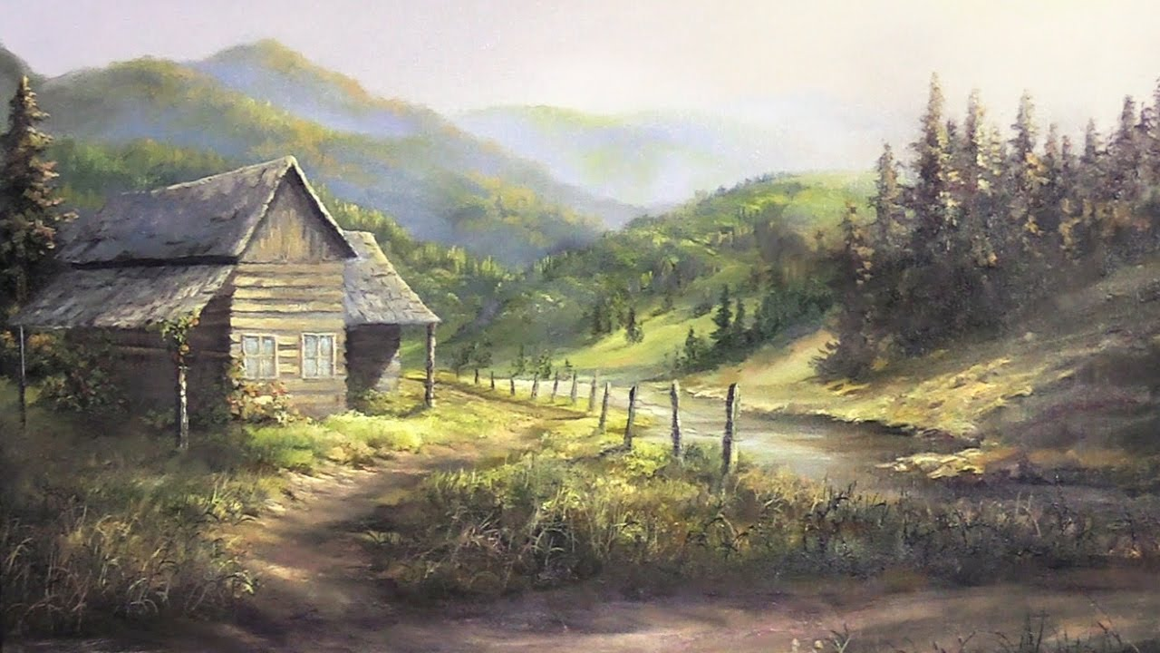 Rustic cabin oil painting landscape art youtube for Cabin landscaping