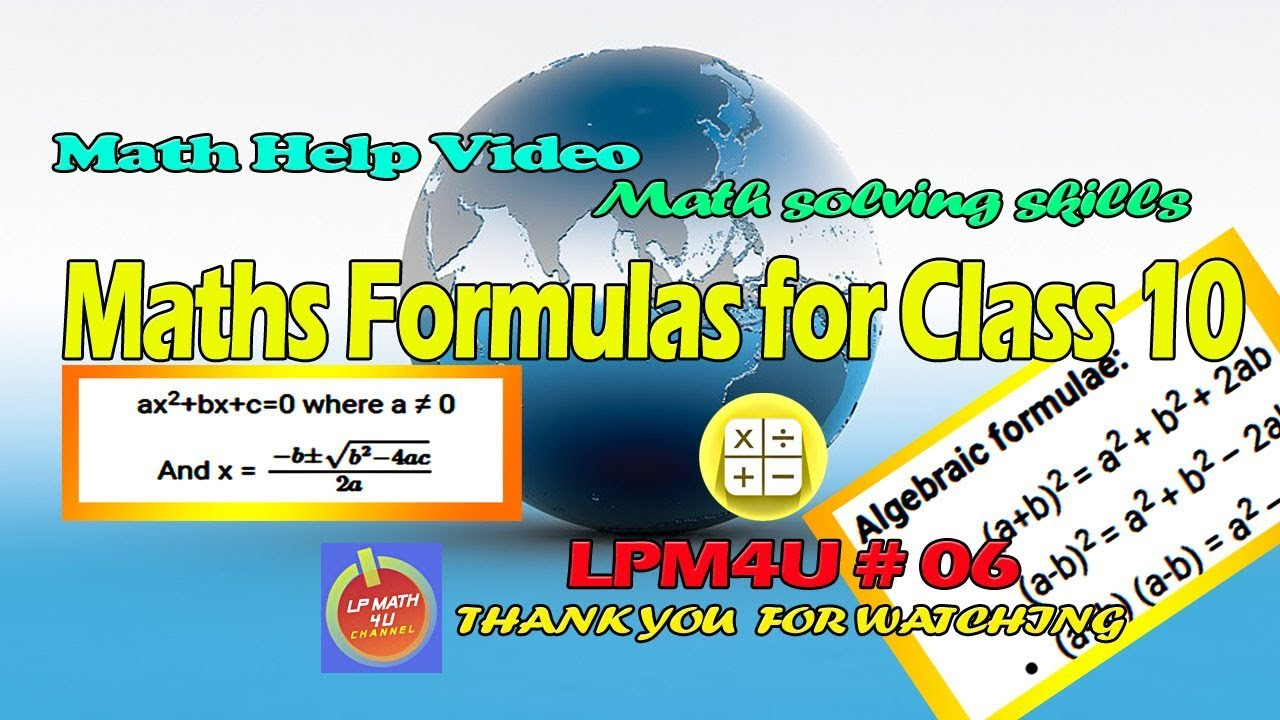 Maths Formulas for Class 10 - LPM4U 06