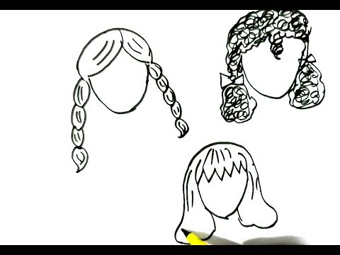 How To Draw Girls Hairstyles 2 Easy Steps For Children Kids Beginners