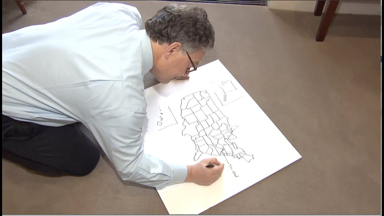 Franken Draws Gift For Reporter Who Called MN Worst Place To Live - Al franken draws a map of us