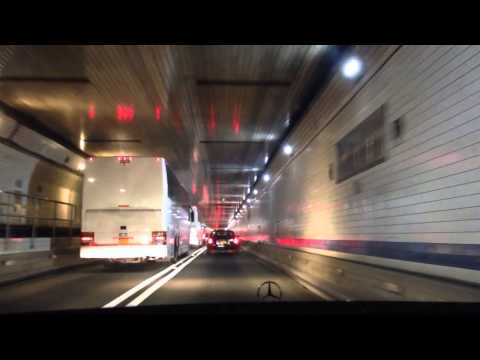 Lincoln Tunnel NJ to New York City night drive NYC