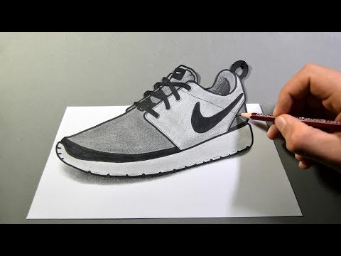 How to Draw Nike Shoes in 3D , YouTube