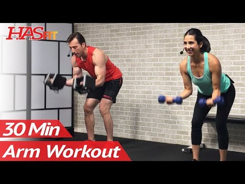 30 Minute Dumbbell Arm Workout for Women & Men at Home with Weights - Muscle Building Arms Exercises