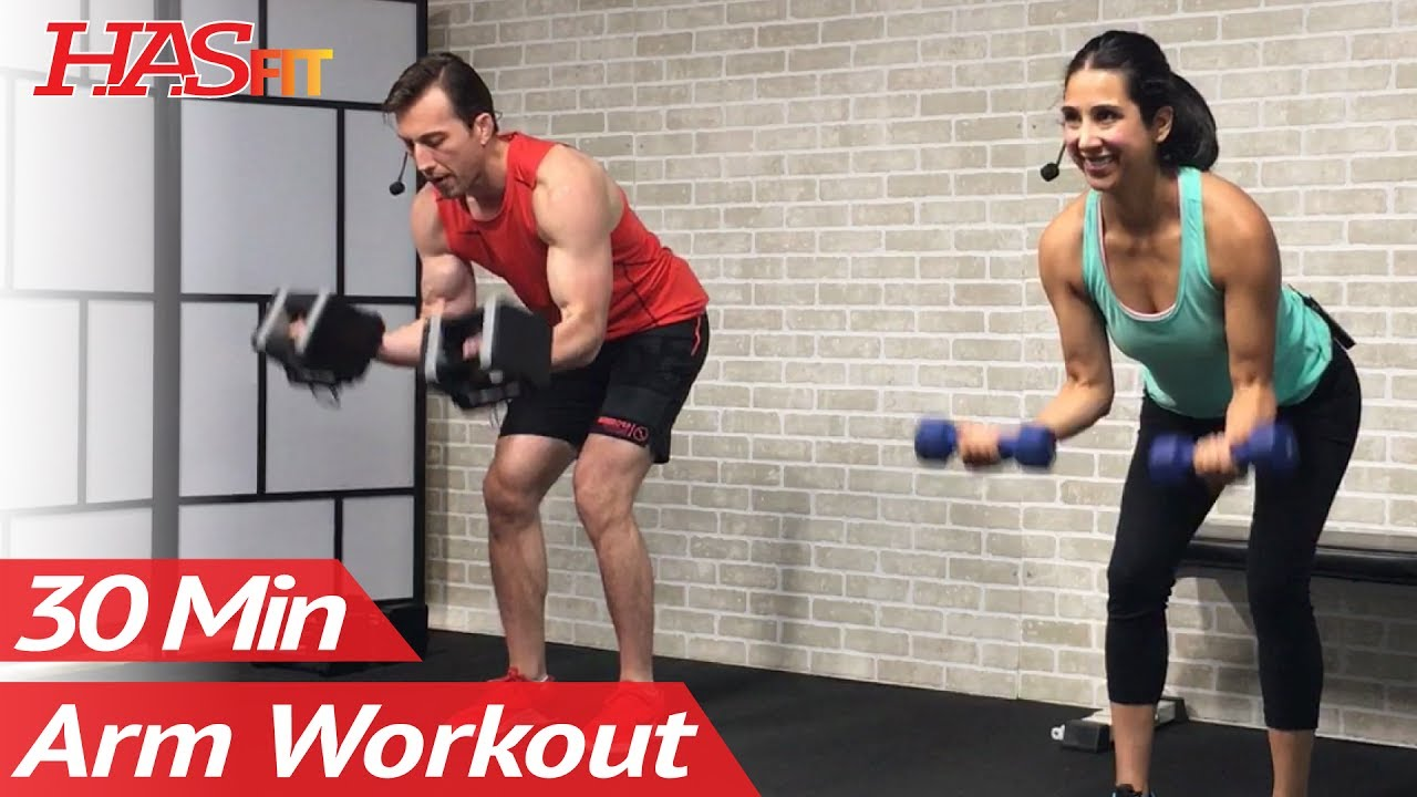 30 Minute Dumbbell Arm Workout For Women Men At Home With Weights