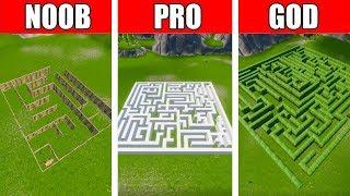 Fortnite NOOB vs PRO vs GOD: SECRET MAZE BUILD CHALLENGE in Fortnite