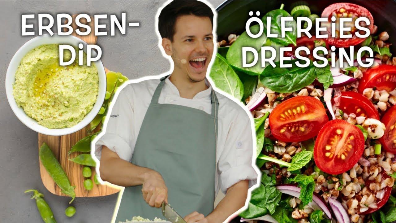 Ölfrei  •  proteinreicher veganer Salat mit Erbsendip • Ernährungswissenschaftlich optimiert
