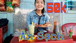 Thử Thách Ăn Vặt 50k Ở Cổng Trường Tiểu Học Hòa Bình | Như Quỳnh Kids