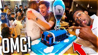 WE THREW HIM THE MOST EPIC SURPRISE PARTY!! *CUSTOM FORTNITE CAKE*