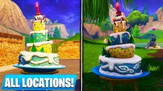 """ALL BIRTHDAY CAKE LOCATIONS in Fortnite! - """"Dance in front of different Birthday Cakes"""" GUIDE"""