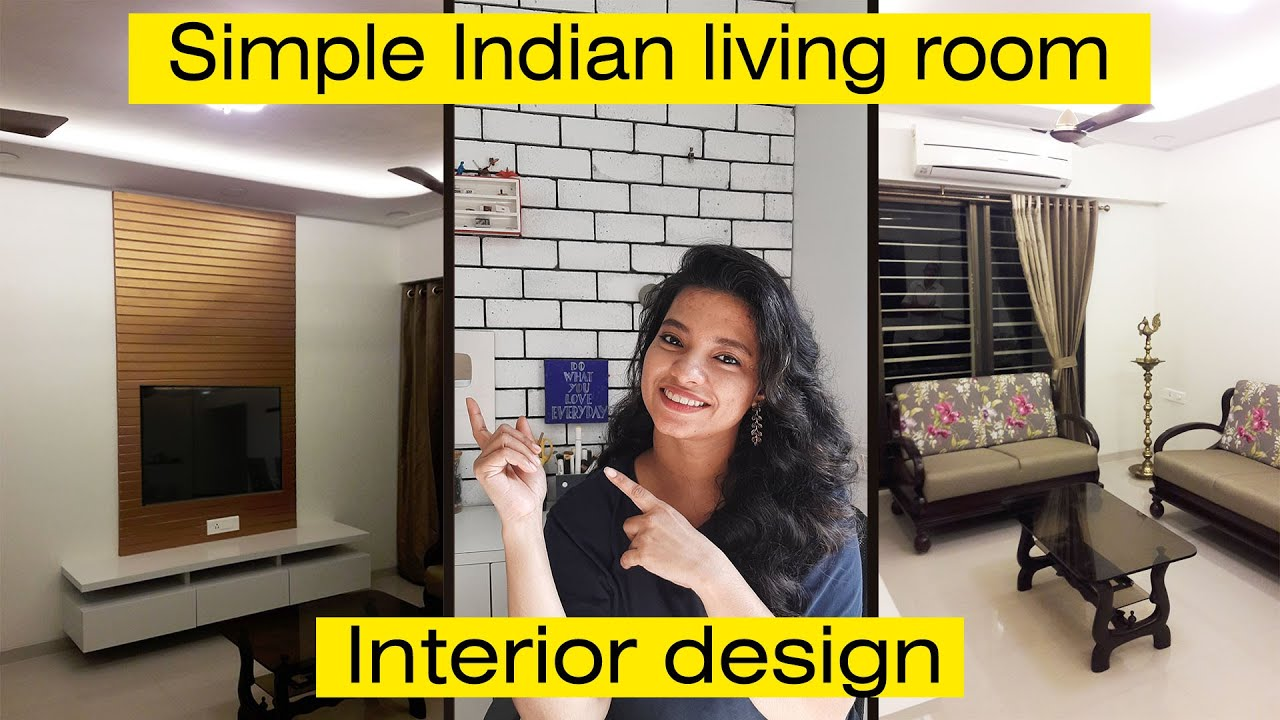 Simple Indian style living room interior design Makeover + False ceiling & lighting design by Nihara