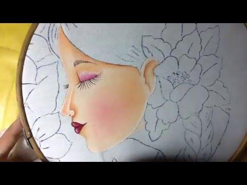 Pintura en tela rostro con flores 1 con cony youtube - Flores de telas hechas a mano ...