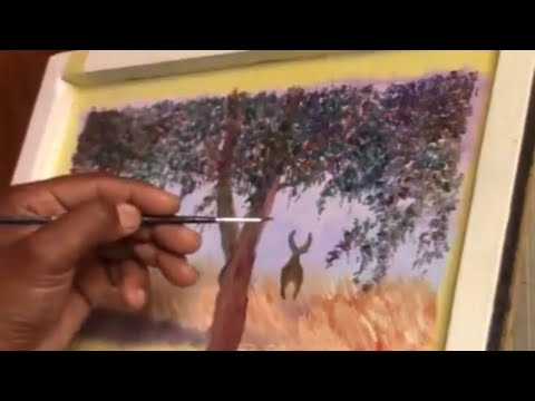 How to paint a deer in a landscape step by step