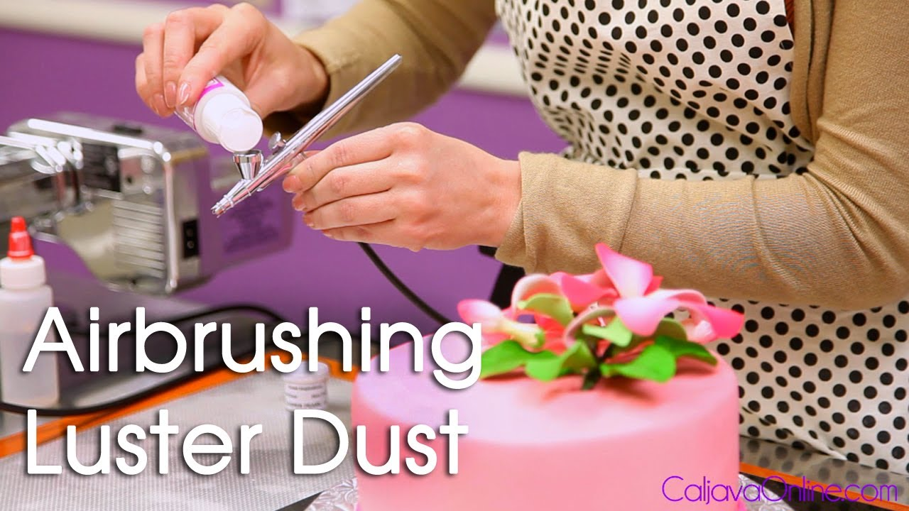 How to Use Luster Dust with an Air Brush on a Cake - YouTube