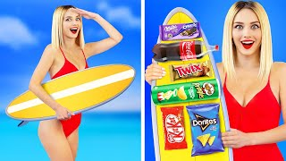 12 Ways to Sneak Food into the Pool or Water Park || Weird and Funny Tips by RATATA!